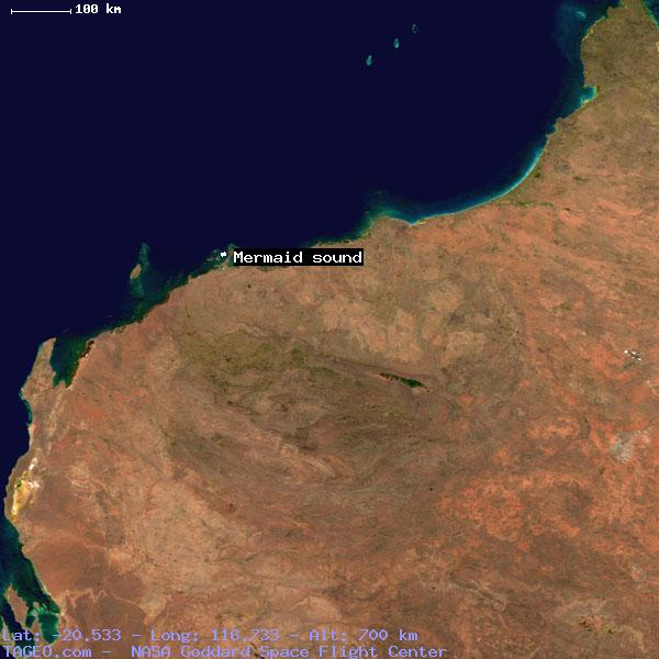 Mermaid sound western australia australia geography population map satellite view of mermaid sound freerunsca Image collections