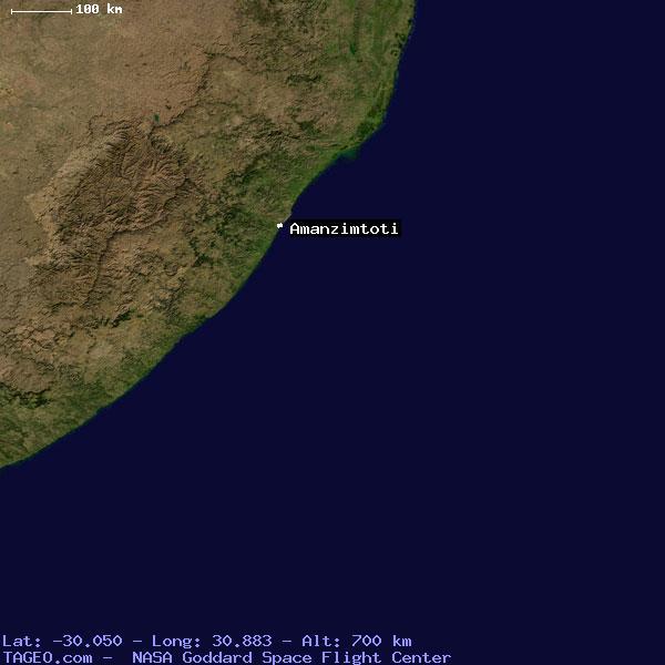 AMANZIMTOTI KWAZULU NATAL SOUTH AFRICA Geography Population Map