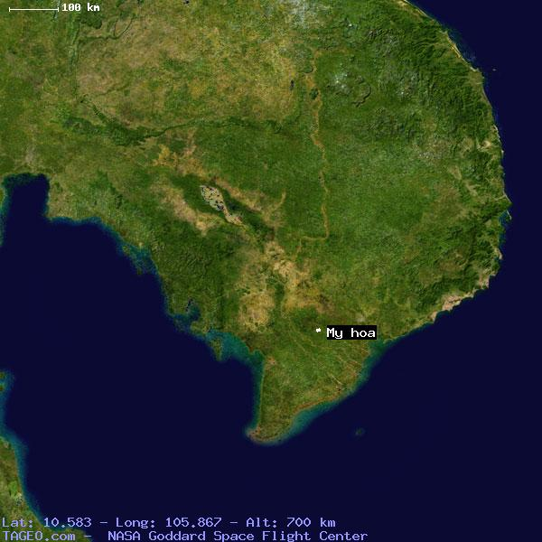MY HOA TIEN GIANG VIETNAM Geography Population Map Cities - Satellite map of my location