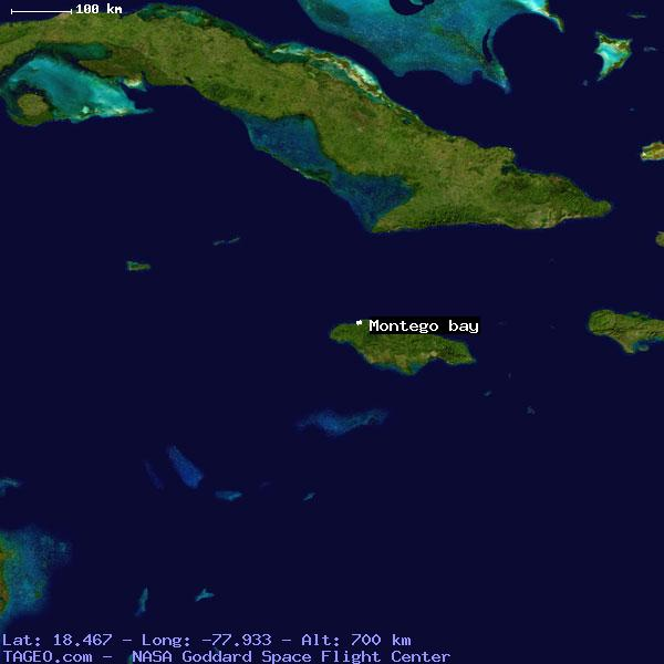Montego bay saint james jamaica geography population map cities satellite view of montego bay sciox Images