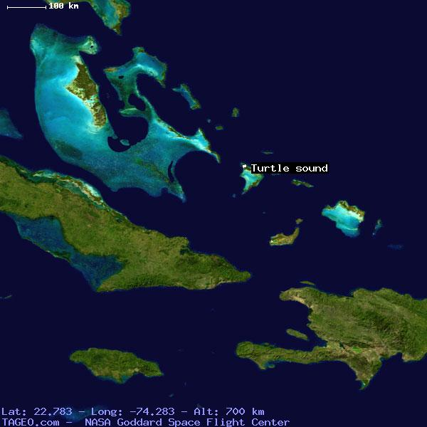 Turtle sound acklins and crooked islands bahamas geography satellite view of turtle sound freerunsca Image collections
