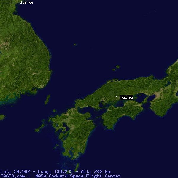 FUCHU HIROSHIMA JAPAN Geography Population Map Cities Coordinates - Fuchu map