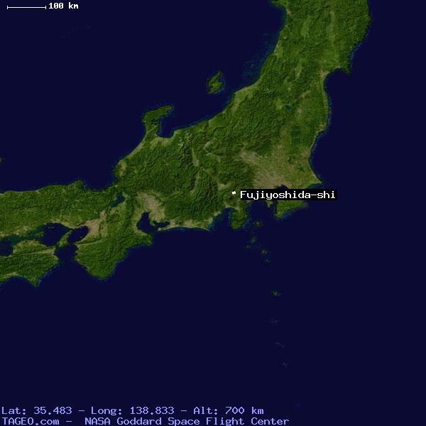 FUJIYOSHIDASHI JAPAN GENERAL JAPAN Geography Population Map - Japan map satellite