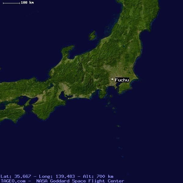 FUCHU TOKYO JAPAN Geography Population Map Cities Coordinates - Fuchu map