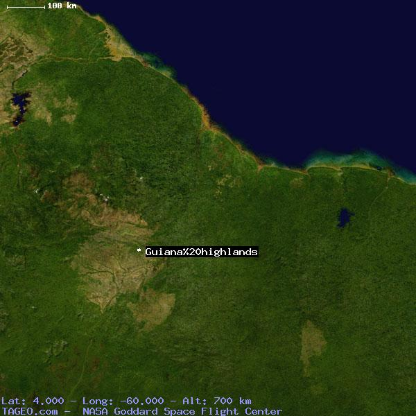 Satellite view of Guiana highlands