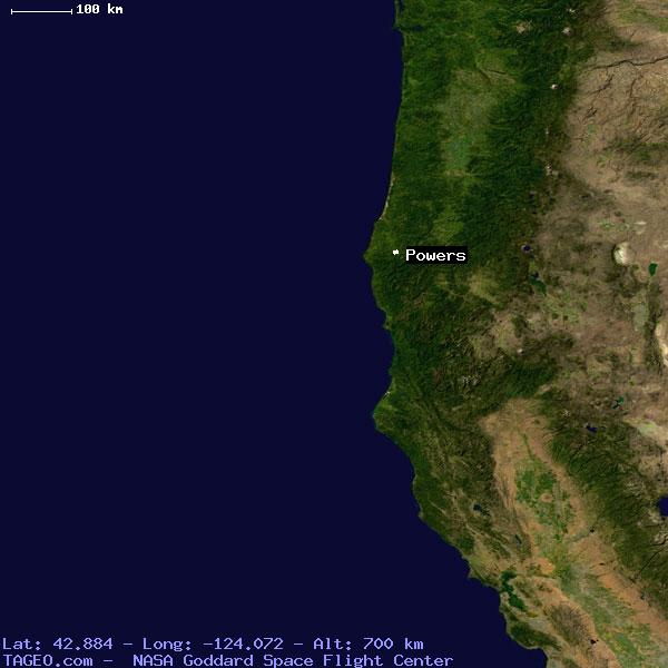 Powers Oregon United States Geography Population Map Cities