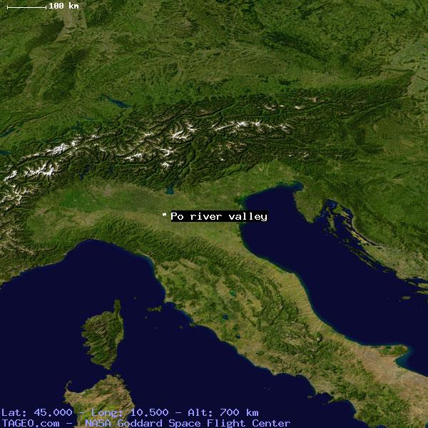 PO RIVER VALLEY ITALY GENERAL ITALY Geography Population Map - Po river
