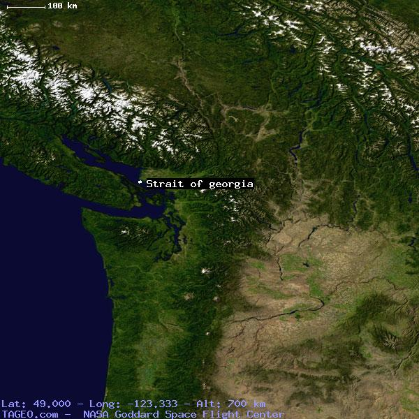 Satellite Map Of Georgia.Strait Of Georgia British Columbia Canada Geography Population Map