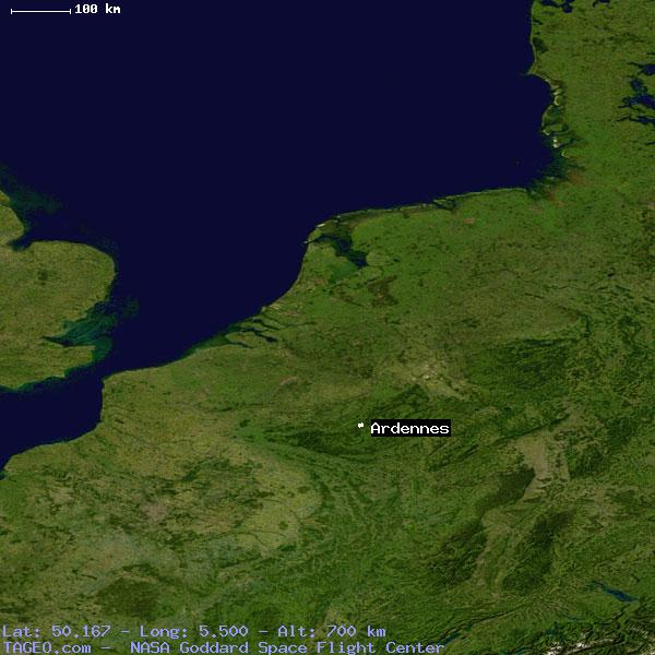 satellite view of ardennes