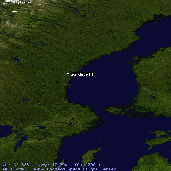 SUNDSVALL VASTERNORRLANDS LAN SWEDEN Geography Population Map - Sweden map sundsvall